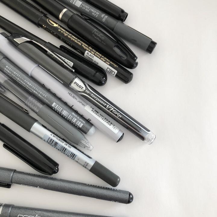 【書きやすく裏写りしない文字用のペンはどれか?14本を比較。】ノートや手帳に色ペンと一緒に使う場合。